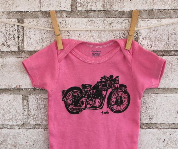 Triumph Motorcycle baby onesie, Pink baby bodysuit, Cotton Infant Creepwer, great baby shower gift