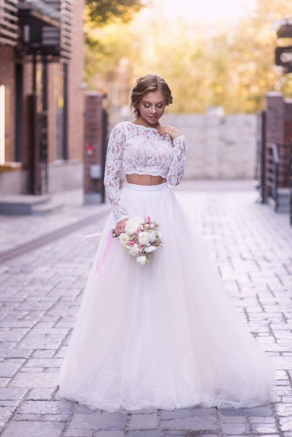 Two Piece Wedding Dress Lace Wedding Dress Bridal Separates Etsy Lace Crop Top Wedding Dress Crop Top Wedding Dress Two Piece Wedding Dress