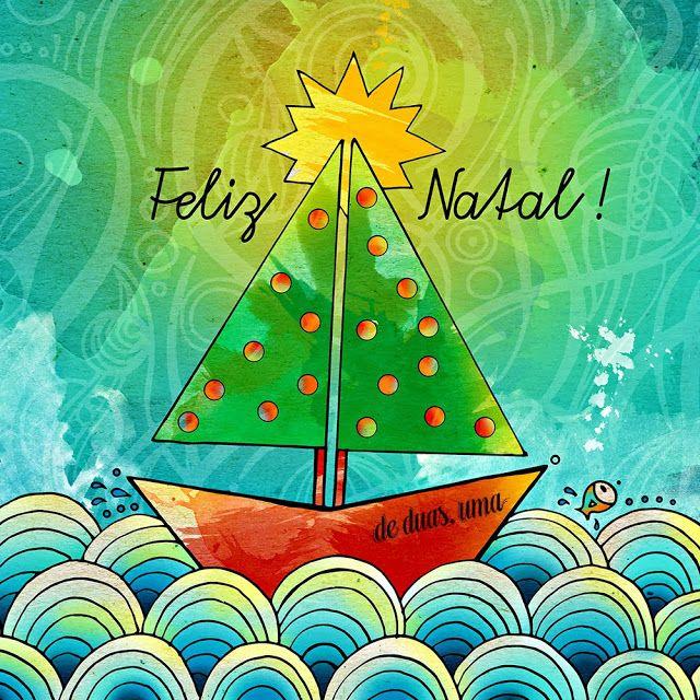 de duas uma ilustração - chrstimas tree - árvore de natal - boat ♥