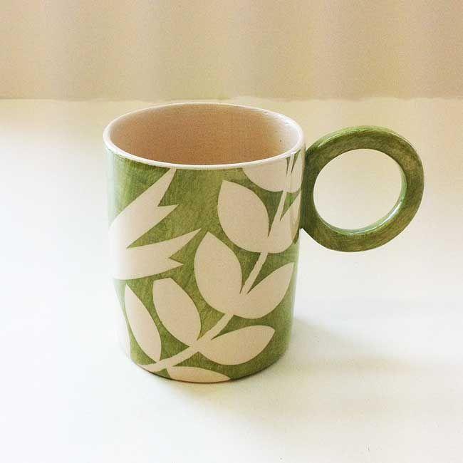 Large Round Mug – Ava/Green | Ken Eardley Ceramics