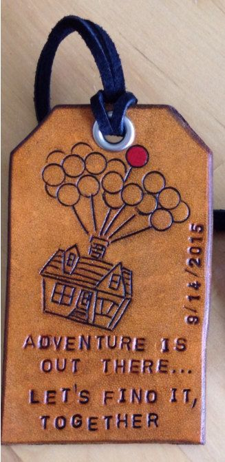 Leather Luggage Tag Up House with Balloons and Personalized Quote - Love That Leather