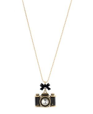 Betsey Johnson Necklace, Gold Tone Camera Pendant
