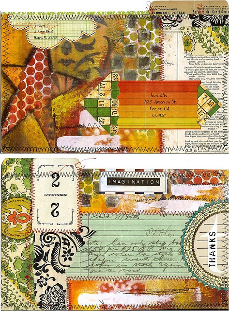 Stitched mail art envelope