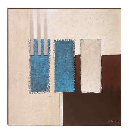 Canvas Wall Art 28W x 28H Wall Painting Brown and Blue Canvas Art [39827] : Neat Offices, Office Furnishings, Desks and Wall Decor