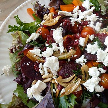 Mescluln Salad with Veggies, Goat Cheese, and Crispy Garlic: Goats, Garlic Goatcheese, Mesclun Salad, Food, Garlic Recipe, Salad Recipe, Crispy Garlic, Veggies, Goat Cheese