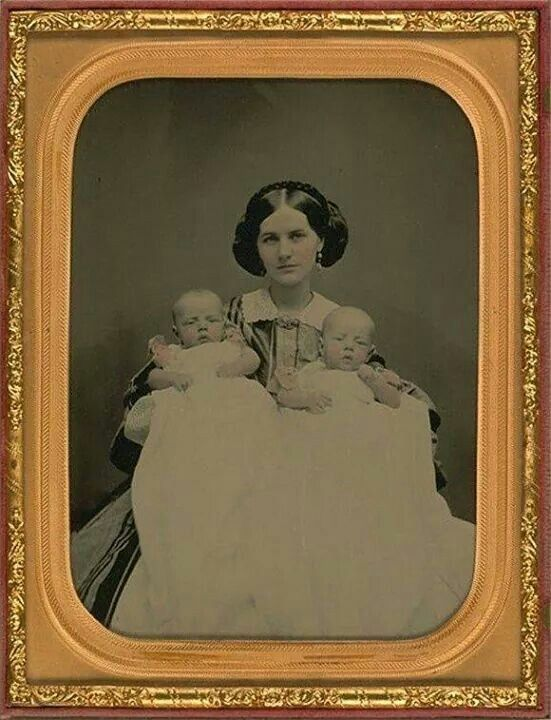 Beautiful Victorian Daguerreotype portrait of mother and her baby twins.