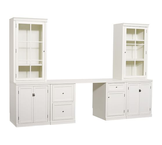 "Logan Small Office Set (1 desk, 2 24"" bases with doors, 2 24"" hutches with glass doors), Antique White"