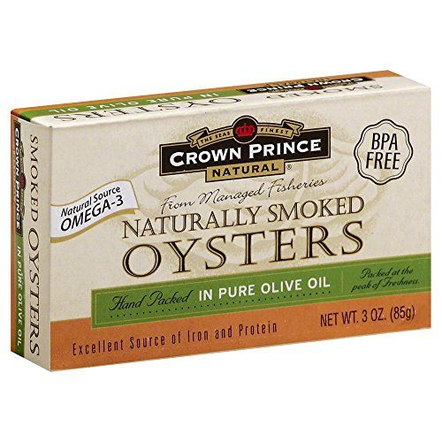Crown Prince Smoked Oysters in Pure Olive Oil The Seas Finest, Natural Source Omega-3 From Managed Fisheries, Hand Packed Crown Prince Natural Smoked Oysters In Pure Olive Oil - 3 oz - 3 pk