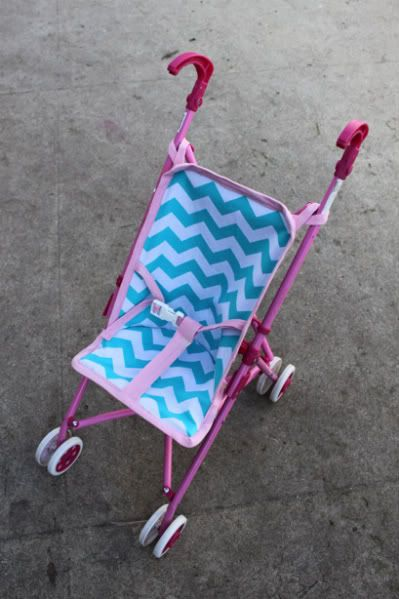 New liner for baby stroller - great idea!  We've been through two baby doll strollers, since my daughter always sits in it and breaks the fabric.  :)