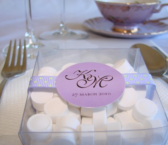 Wedding favour mints with personalised label
