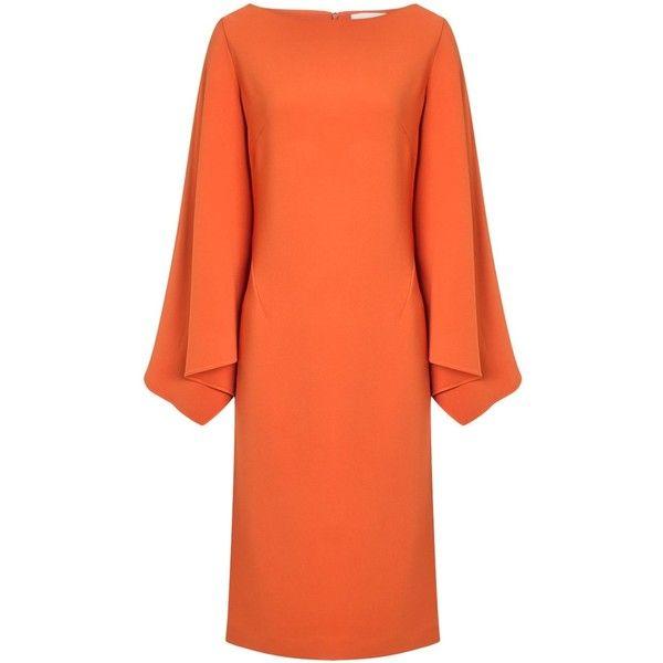 Osman Orange Crepe Tukan Batwing Dress (23 785 UAH) ❤ liked on Polyvore featuring dresses, orange, orange shift dress, long evening dresses, orange cocktail dress, cocktail dresses and long sleeve dress