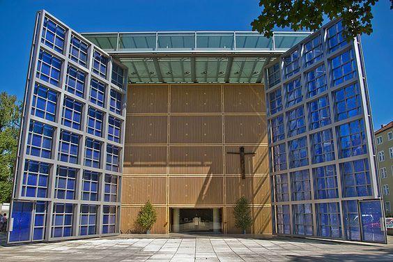 Herz Jesu Kirche - Church of the Sacred Heart - Munich. Front doors, open.: