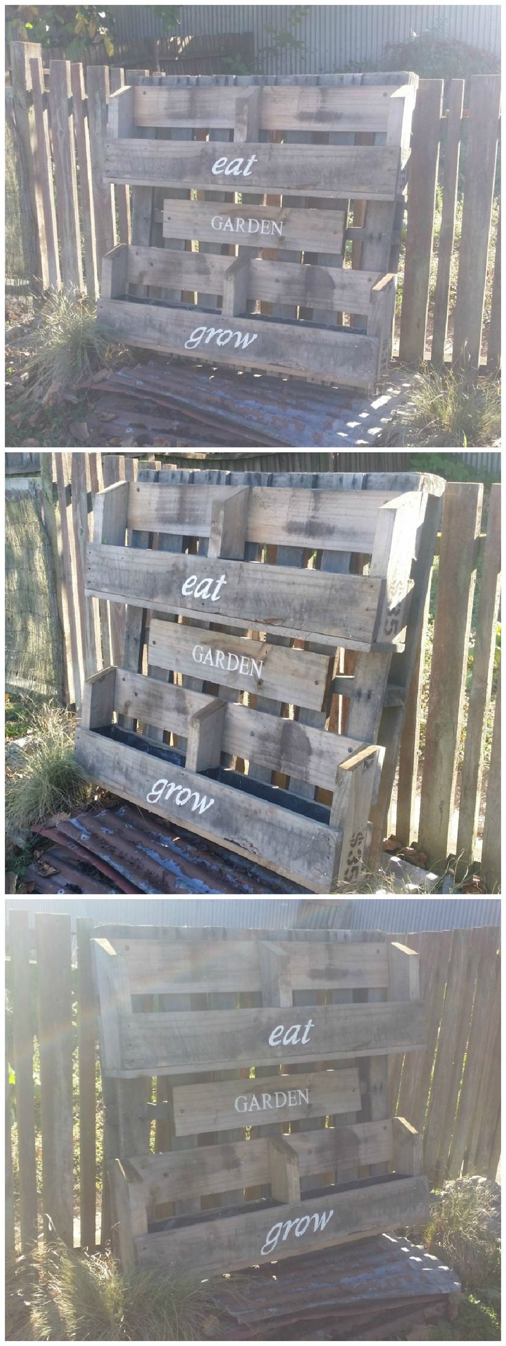 Made a 4 bay planter out of two pallets. Stenciled some fancy words on it. Followed some plans from another pin to make the boxes and then changed it up into something that would sell.