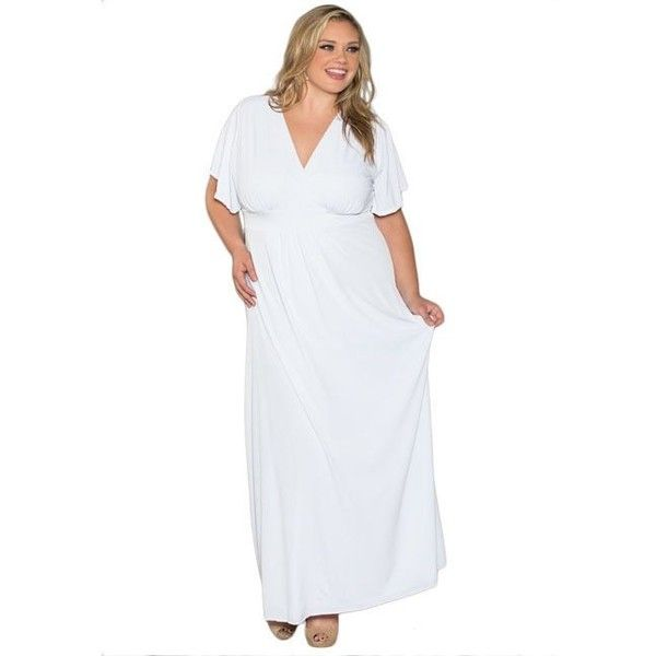 Sealed With a Kiss Women's Plus Size White Short Sleeve Maxi Dress ($63) ❤ liked on Polyvore featuring plus size women's fashion, plus size clothing, plus size dresses, plus size, white, short-sleeve maxi dresses, plus size empire waist dress, plus size short dresses, short maxi dress and empire waist maxi dress