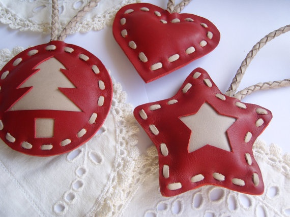 Leather christmas decoration