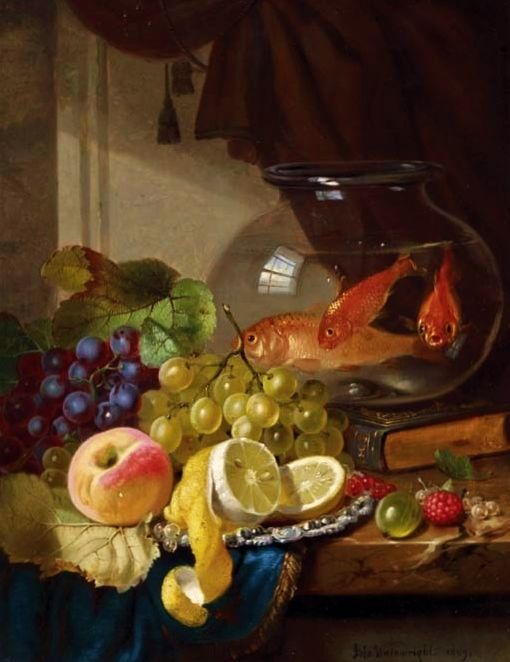 John Wainwright Still Life with Fruit and Goldfish in a Bowl on a Ledge