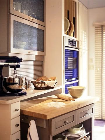 Bake Zone One way to have a lower height counter with a different worksurface for kneading