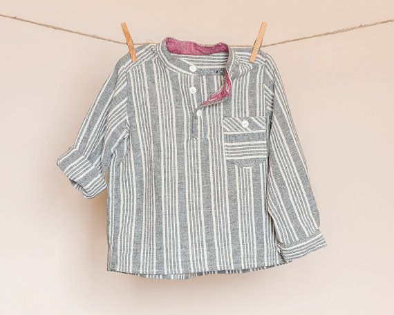 Boys long sleeved grey striped shirt mandarin by TheElfShopDesigns
