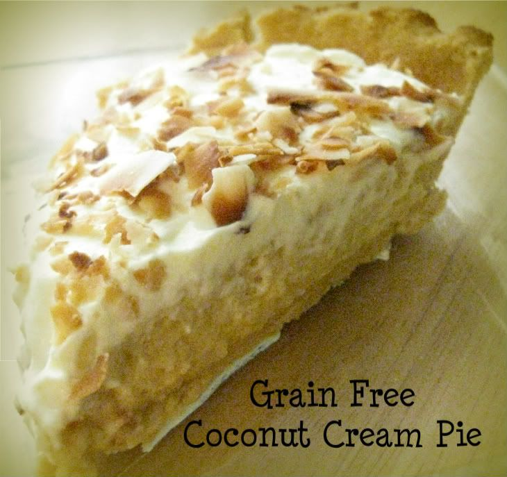 Ingredients 1. 1 recipe for coconut flour pie crust, baked and cooled 2. 3 egg yolks 3. 1 1/2 cups young coconut meat, raw 4. 1/4-1/2 cup raw honey or coconut nectar 5. pinch of sea salt 6. 1 1/2 tablespoon gelatin 7. 1/3 cup filtered water 8. 1/2 cup whipped cream or coconut cream 9. 1 cup cream, whipped (topping) 10.1/4 cup toasted coconut for topping