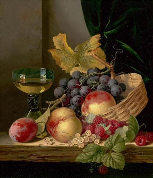Edward Ladell-Frutas na cesta e vinho branco