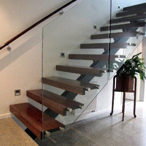 Best Modern Steel Stairs With Walnut Timber Treads And Glass 400 x 300