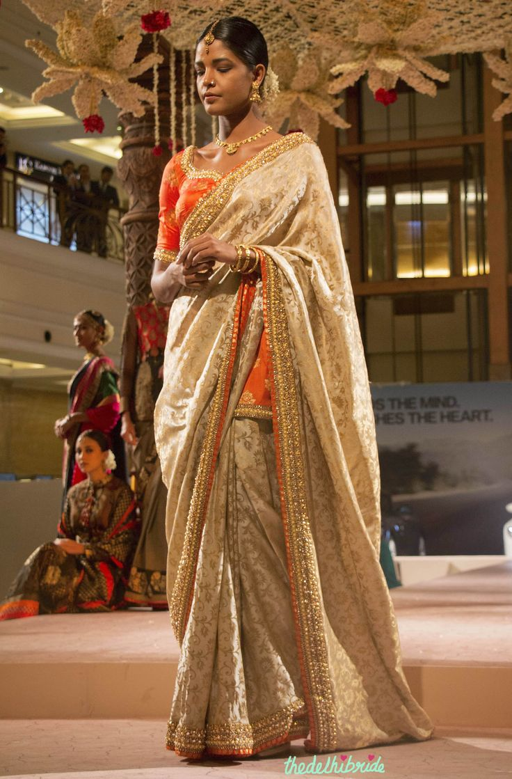 Beige golden brocade blouse blouse designs blouse designs for sarees - Ashima Leena Beige Brocade Saree _ Orange Blouse With Embellished Jewel Embroidery Bmw India Bridal Fashion Week 2015