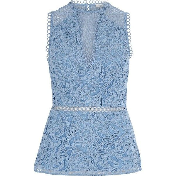 River Island Blue lace sleeveless peplum top ($84) ❤ liked on Polyvore featuring tops, blouses, blue, women, blue top, lace sleeveless top, river island, lace peplum top and blue sleeveless top