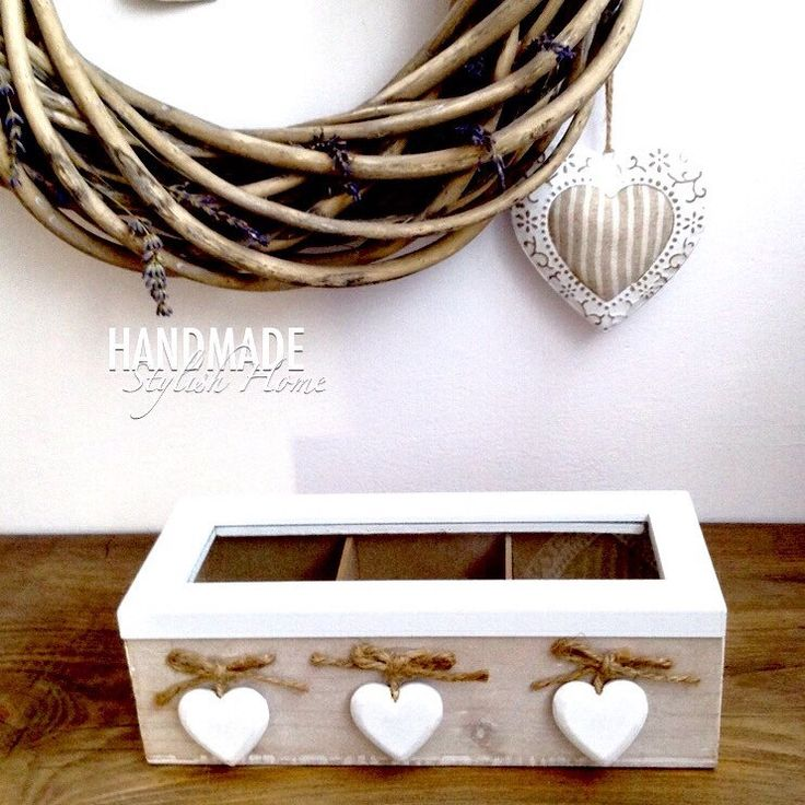 handmade, wooden, white hearts tea box, glass lid, rustic tea box  handmadestylishhome.etsy.com
