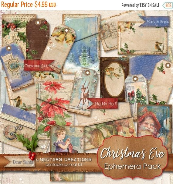 ON SALE CHRISTMAS Eve_Ephemera_Pack  Printable by NectarsCreations