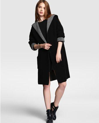 Chaquetón de mujer Easy Wear negro de lana