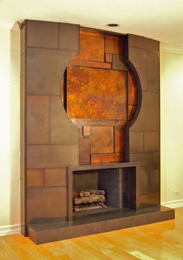 modern einrichten wohnzimmer kamin patina effekt - wohnzimmer mit kamin modern