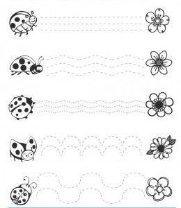 ladybug trace line worksheets (1)   Crafts and Worksheets for Preschool,Toddler and Kindergarten