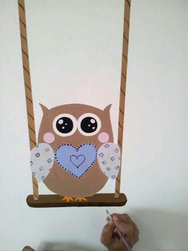 Dipinto su parete Gufetto owl