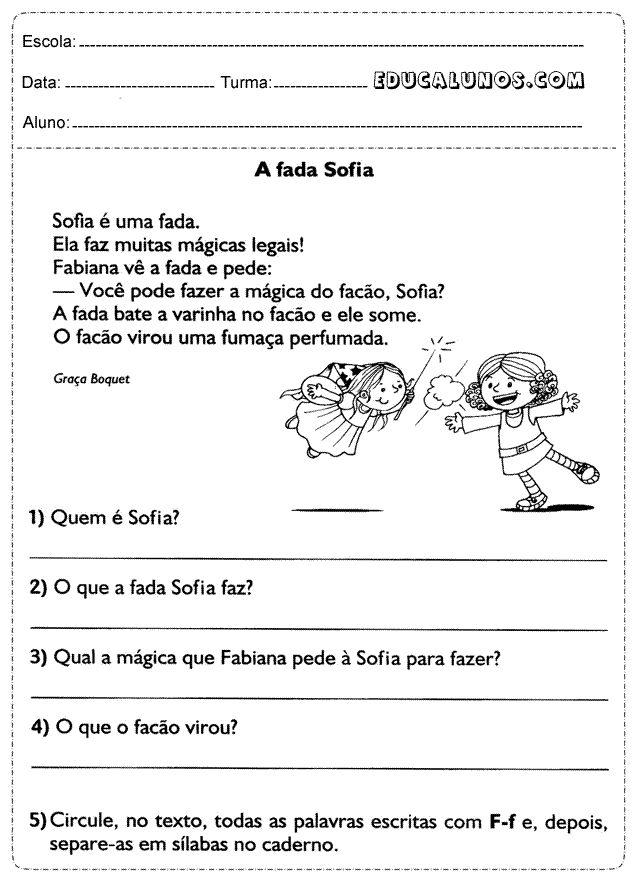 Interprete o texto da fada Sofia