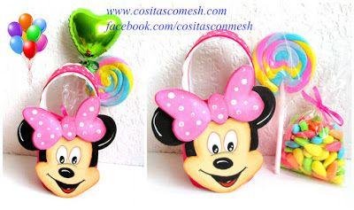 Cómo hacer la cara de Minnie Mouse para cumpleaños infantiles ~ cositasconmesh
