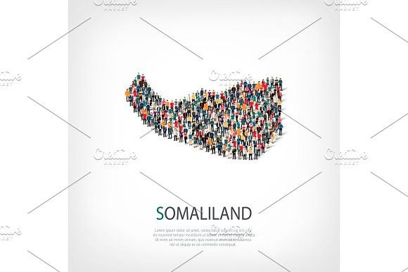 People Map Country Somaliland Vector Map Graphic Illustration