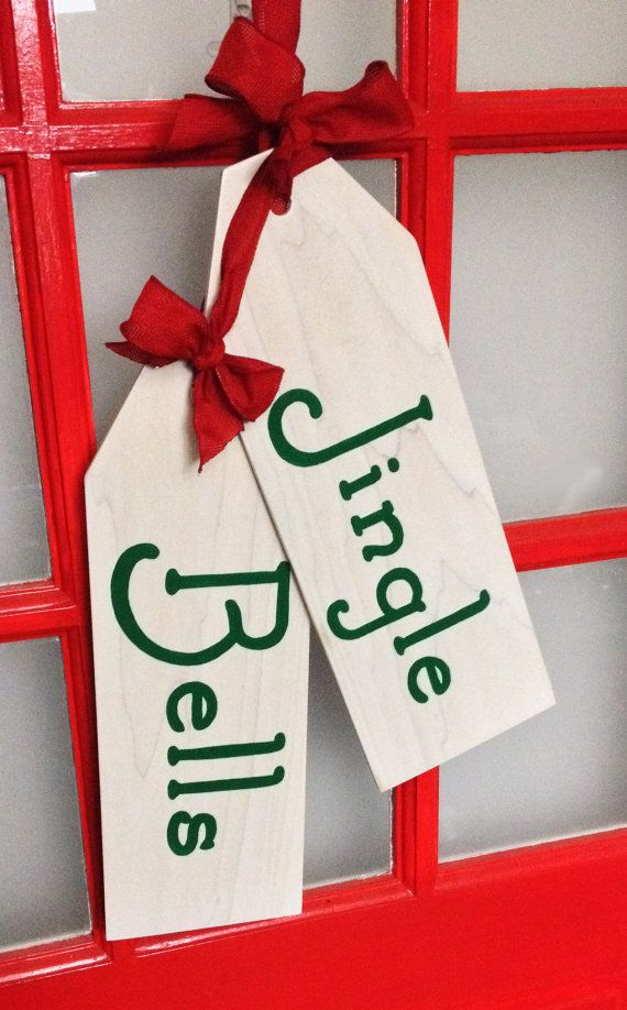 Christmas Wreath Jingle Bells Door Hanger Tags by UniquelyYoursLRC