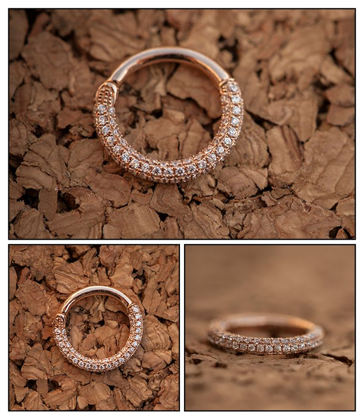 Made from solid 14k Rose Gold and encrusted with CZs, this piece is breathtaking!!     Clicker ring - operates on a hinge. Simple to insert and remove!    Jewelry by Venus