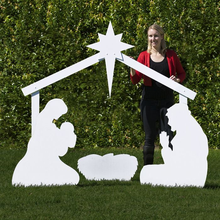 Large White Silhouette Outdoor Nativity Set Holy Family Scene by Outdoor Nativity Store