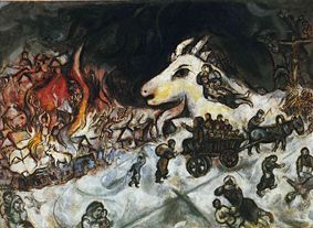 The holocaust with white cow of innocence and crucifixion