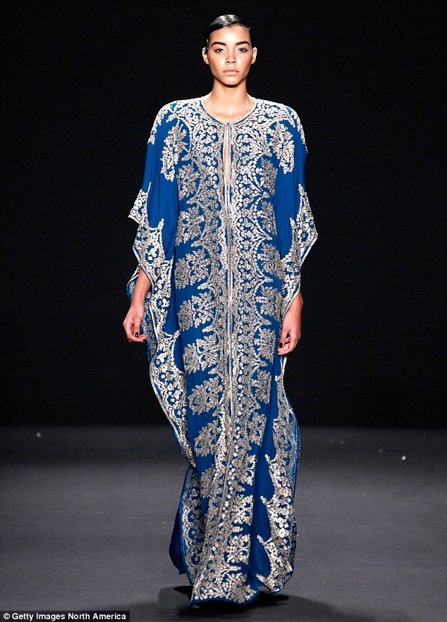 Blue and silver caftan by Naeem Khan 2013