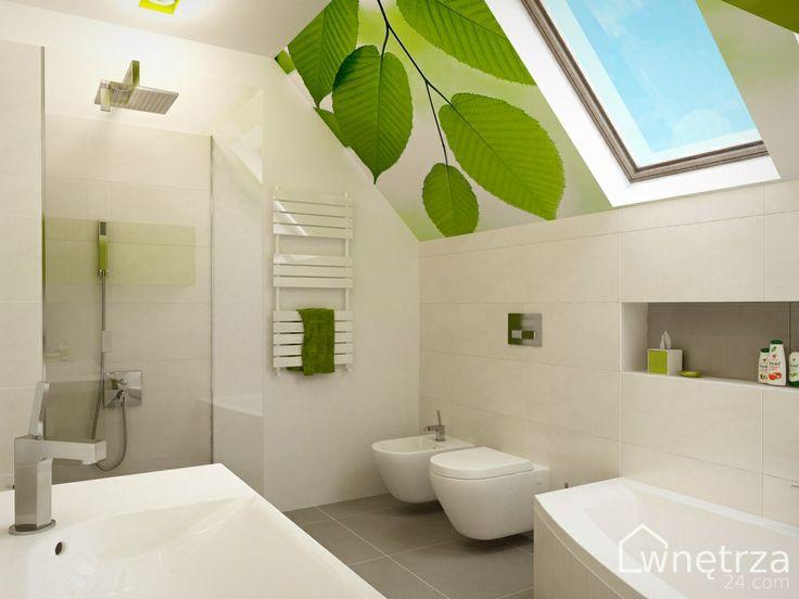 Projekt łazienki biało-zielonej