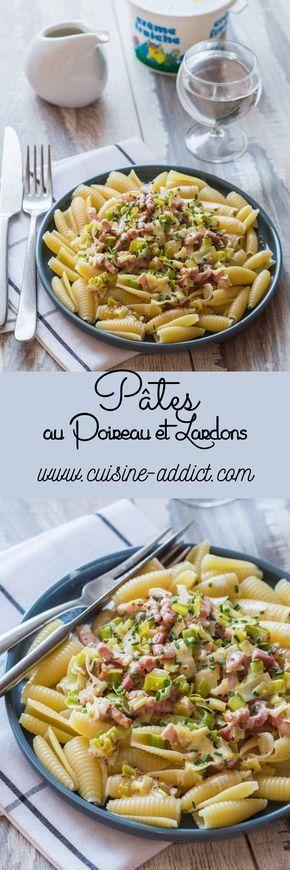 Pâtes au Poireau, Crème et Lardons