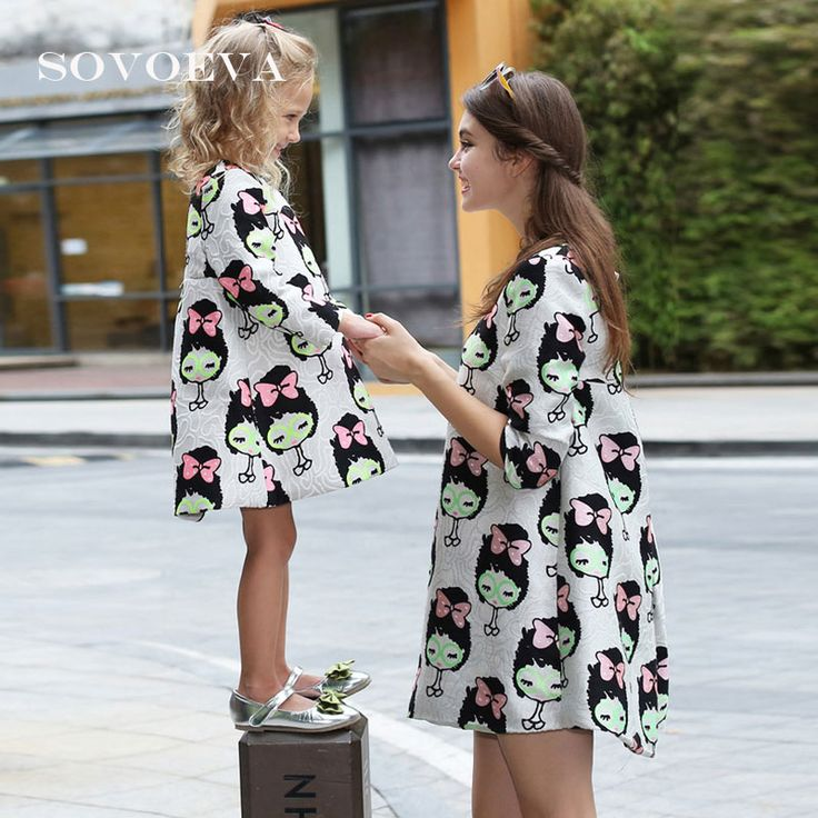 Find More Dresses Information about SOVOEVA 2017 Women Dress Summer Mother and Daughter Baby Girl Dresses Loose One piece Fashion Cartoon Girls Cute Dress AB078,High Quality dresse,China dress angle Suppliers, Cheap dress princes from SOVOEVA Store on Aliexpress.com
