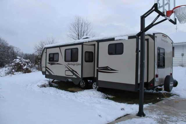 2015 Used Forest River Heritage Glen 312QBUD Travel Trailer in Michigan MI.Recreational Vehicle, rv, EXCELLENT CONDITION!!!! MUST SELL - Going Through Divorce/ Used only 4 times this past summer - 2015 Forest River Heritage Glen 312QBUD, Convenience Package: Flat Screen TV w/DVD Player, One Touch Electric Awning, Enclosed and Heated Underbelly, Full Extension Ball Bearing Drawer Guides, Stainless Steel Kitchen Package, Radial Tires Filled w/ Nitrogen, XL Grab Handle, Transferable Warranty…