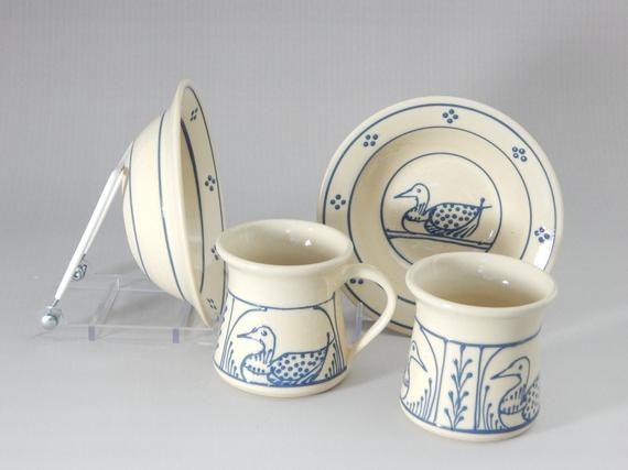 Stoneware Baby Mug And Bowl Set Blue Loon Design 1 Mug 1 Bowl Stoneware Mugs Stoneware Clay
