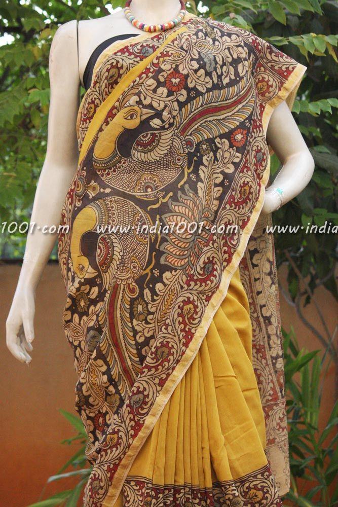 Stunning Hand Painted Chanderi Kalamkari Saree   India1001.com