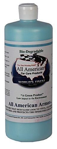 All American Car Care Products All American Armor - Water-based Silicone Silicone Dressing for Leather Vinyl Plastic Rubber and More (32 Ounces)