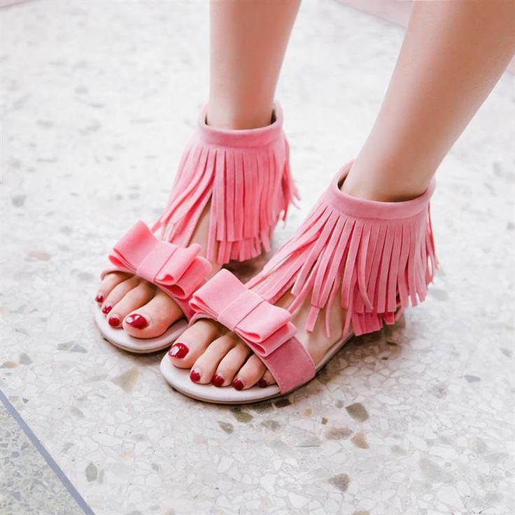 Bowknot Upper Zipper Fastenings Flat Sandals 031809