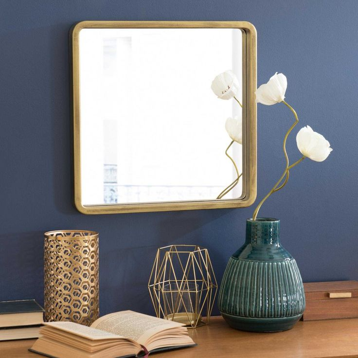 Quadratischer Spiegel goldfarben H 40 cm MESSINA